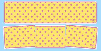 Yellow with Pink Stars Editable Display Banner - yellow, pink, display, banner, display banner, display header, themed banner, editable banner, editable