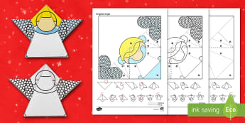 Simple Origami Christmas Angel Paper Craft - angel, angle, Gabriel, nativity. choir, folding, paper, baby Jesus, Mary.