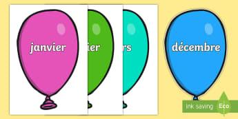 Posters d'affichages : Les mois de l'année sur des ballons - mois, months, poster, display, cycle 1, cycle 2, date,French