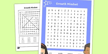 Growth Mindset Upper School Vocabulary Word Search-Australia