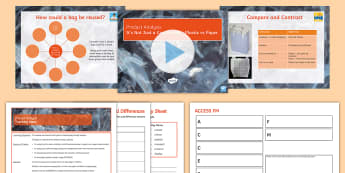 Product Analysis: Carrier Bags Lesson Pack - Plastic, Paper, Analyse, Designing, Research, ACCESSFM, compare, Contrast, evaluate, Environment, Us