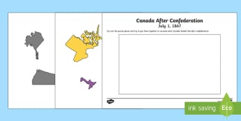 Canada After Confederation 1867 Puzzle Activity - Canada's 150th Birthday, confederation, social studies, Canada Day, grade 3, grade 4, grade 5, grad