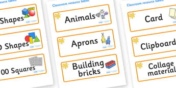 Amber Themed Editable Classroom Resource Labels - Themed Label template, Resource Label, Name Labels, Editable Labels, Drawer Labels, KS1 Labels, Foundation Labels, Foundation Stage Labels, Teaching Labels, Resource Labels, Tray Labels, Printable lab
