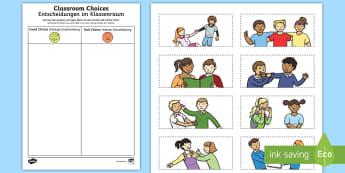 Classroom Choices Cutting Skills Activity Sheet - English/German - Back to School, good choices, poor choices, cutting, EAL, German, English-German,,German-translation