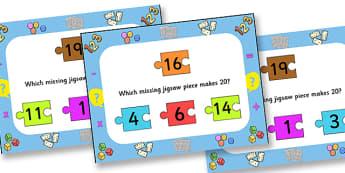 Number Bonds To Twenty Jigsaw PowerPoint - number bonds, number bonds to twenty, jigsaw, jigsaw powerpoint, powerpoint, matching, number bonds powerpoint