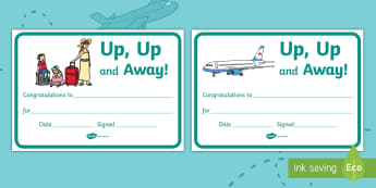 Up, Up and Away! Certificate - ROI, Experience Stories, The Airport, Travel, Aistear, Up, up and Away, Certificate,Irish