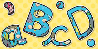 Under the Sea Themed Display Lettering A4 - display, lettering