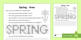 Spring Area Activity Sheet - Spring, Weather, Seasons, graph, Area, worksheet