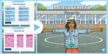 Y6 Measurement Warm-Up PowerPoint - KS2 Maths warm up powerpoints, warm up, warm-up, warmup, starter, mental starters, Y6, maths, units,