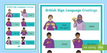 British Sign Language Greetings A4 Display Poster - Deaf Awareness Week  UK (2.5.17), sign language greetings