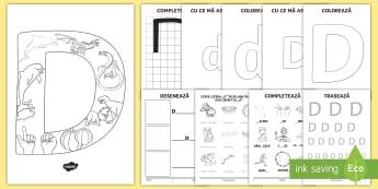 Consolidarea literei D Broșură - alfabetul, alfabetar, litere, sunete, grafisme,Romanian