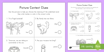 Picture Context Clues Activity Sheet - worksheet, definitions, vocabulary, synonyms, interpret, meaning