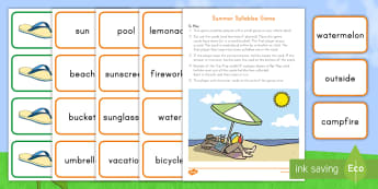 Summer Syllables Game - Summer, summer season, first day of summer, summer vacation, summertime, syllables, ELA, phonics, be
