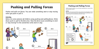 Pushing and Pulling Forces Worksheet - push and pull, pushing and pulling, push and pull worksheets, forces and motion, forces and motion worksheets, ks2