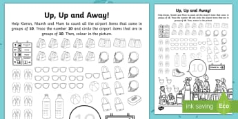 Up, Up and Away! Number 10 Travel Counting Activity Sheet - ROI, Exploring our World, Story, Aistear, Airport, Holiday, Number, Number 10, Worksheet, maths, iri