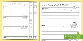 Unseen Poetry. What's It About? Activity Sheet - unseen poetry, contemporary poetry, GCSE English Literature, poetry comparison, meaning, understandi