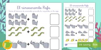 Ficha: Cuenta y suma - El rinoceronte Rafa - contar, sumar, add, addition, rhino,Spanish