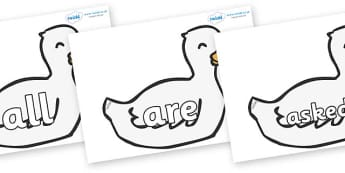 Tricky Words on Mother Duck - Tricky words, DfES Letters and Sounds, Letters and sounds, display, words
