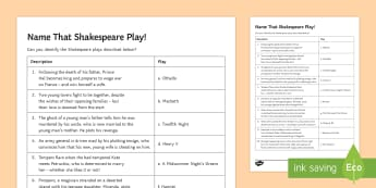 LA Name That Shakespeare Play! Activity Sheet - Secondary - Shakespeare's Birthday 23/04/2017, Bard, William Shakespeare, fun Shakespeare, Henry V,