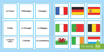 Countries Matching Cards - French, Countries, KS2, Flags, Europe, Travelling, Holidays, Visiting, Foreign, Abroad
