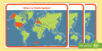 Where is Polish Spoken? A4 Display Poster - polish, language, speak, spoken, country, countries,
