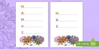 Dia das Mães, poema acróstico - dia da mae, atividade, trabalhos manuais, fichas de colorir, paginas de colorir, recursos em portugu