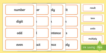 Number: Maths Word Cards - NI, KS1, Numeracy, home learning, independent writing, maths vocabulary, home learning, display