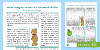 EYFS Maths: Records, using Marks... Home Learning Challenges - Mathematics, maths, number, counting, count, homework, homeschool links, parents, records, data, dat