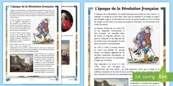 Fiche d'information : L'époque de la Révolution française - La Révolution, cycle 2,  KS2,The French Revolution, Bastille Day, Bastille, Prise de la Bastille, 1