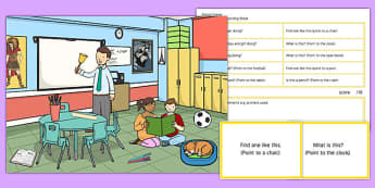 School Scene Blanks Level 1 Questions - receptive language, expressive language, verbal reasoning, language delay, language disorder, comprehension, autism