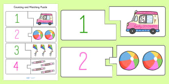 Seaside Themed Counting Matching Puzzle - ESL Counting Puzzle