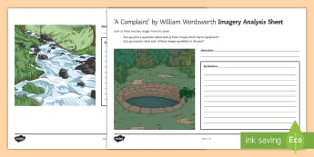 Imagery Analysis Activity Sheet to Support Teaching on 'A Complaint' by William Wordsworth  - GCSE Poetry, William Wordsworth, A Complaint, worksheet, The Romantics, Coleridge, structure and for