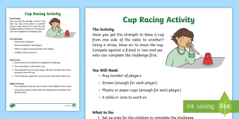 KS1 Cup Racing Activity - straw, blow, race, competitive, speed, force