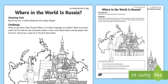 Where in the World Is Russia? Activity Sheet - amazing fact august, russia, internet research, around the world, asia, country research, worksheet