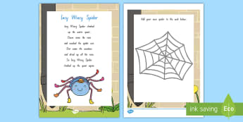 Incy Wincy Spider Activity Sheet - NZ Literacy Resources, Year 1-3, nursery rhymes, New Zealand, activity, worksheet, activities, readi