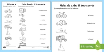 Transport Word and Picture Matching Activity Sheet Spanish - Spanish, Vocabulary, KS2, transport, word, picture, matching,worksheet, activity, sheet,Spanish