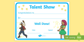 Talent Show Certificate - end of year show, britain's got talent, x factor, dancing, singing,