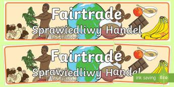Fairtrade Display Banner English/Polish - Fairtrade Display Banner - fairtrade, fair trade, banner, trade, abnner,EAL,Polish-translation