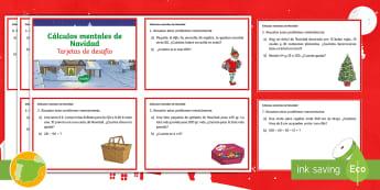 Tarjetas de desafío matemático: Cálculos mentales de Navidad - Navidad, natividad, santa Claus, papá Noel, navideño, navideños, festividad, fiesta, ideas, Probl