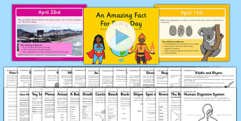 An Amazing Fact a Day April PowerPoint and Activity Sheet Pack - amazing facts, worksheet