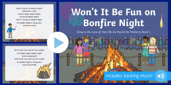 Won\'t It Be Fun on Bonfire Night? Song PowerPoint - EYFS, Early Years, Key Stage 1, KS1, bonfire night, fireworks night, rocket, sparkler, Guy Fawkes, c