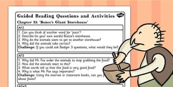 Guided Reading Questions Chapter 13 to Support Teaching on Fantastic Mr Fox - mr fox