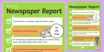 Text Types Guide Newspaper Report Display Poster - australia