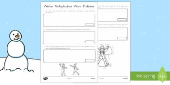 Winter Word Problems Multiplication Activity - Winter, word problems, multiplication, times, real-life problems
