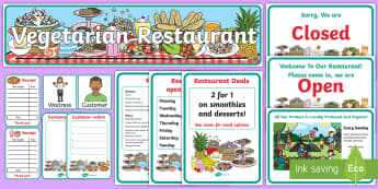 Vegetarian restaurant Role-Play Pack - Vegetarian restaurant Role Play Pack - roleplay, props, eating out, food, resturant, restaraunt, res