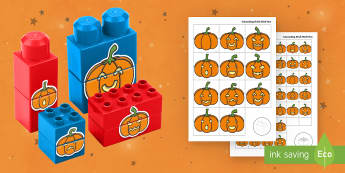 Jack-o'-Lantern Matching Connecting Bricks Game - EYFS, Early Years, KS1, Connecting Bricks Resources, Duplo, Lego, Plastic Bricks, Building Bricks, H