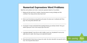 Numerical Expressions in Word Problems Activity Sheet - expressions, equations, algebra, unknowns, problem solving, variables