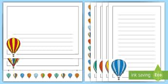 Hot Air Balloon Page Border Pack - rOI, hot air Balloon, Summer, Sky, Writing Activity, Writing template,Irish