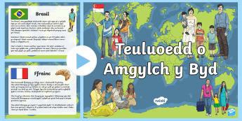 Pwerpwynt Teuluoedd o Amgylch y Byd - Sri Lanka, Tsieina, China, Iceland, Ynys Las, Inuit, Kenya, Cenia.,Welsh-translation