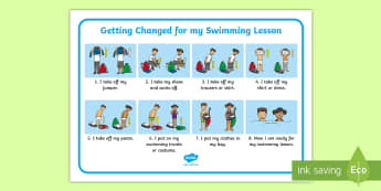 Swimming Changing Desk Mat - Swimming Changing Clothes Mat -  PE, sequence, clothes swimming, SEND, SEN, EAL, swimming lessons, P